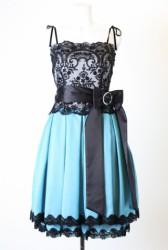 SCOT CLUB(スコットクラブ)のブラックレース×エメラルドグリーンのドレス