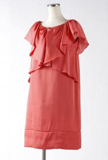 フレッシュオレンジの2WAY袖付きワンピースドレス