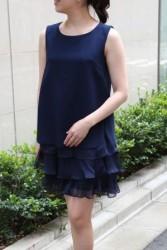 20,30代レンタルドレス ネイビーのフレアが可愛い2ピースミニドレス hp:9843