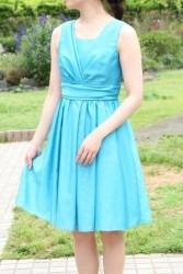 20,30代レンタルドレス〜ターコイズ色のグリッタードレスhp:9844