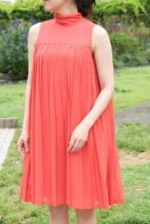 20,30代レンタルドレス鮮やかなビタミンカラーのプリーツドレスhp:9848