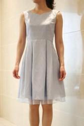 20,30代レンタルドレス水色バラ柄フレアドレス hp:9858