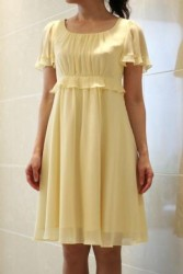 20,30代レンタルドレス イエローカラーのひざ下丈お嬢さまワンピース 9896