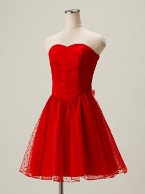Dress Blackのドットチュールレッドミニドレス