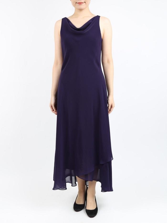 She's(シーズ)のパープルのシンプルなマキシ丈ドレス