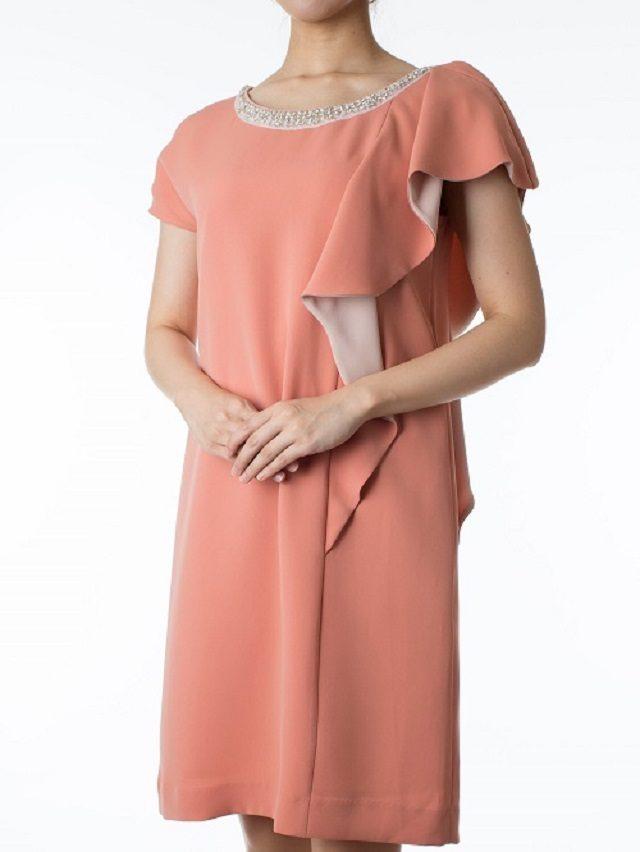 Repleteのビーズ付きオレンジドレス