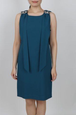 グリーンのジョーゼット棒タイ付きドレス