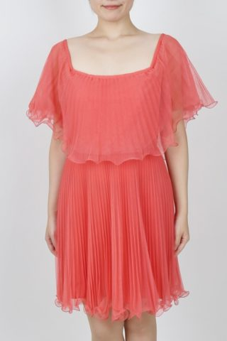BCBGMAXAZRIA(ビーシービージーマックスアズリア)オレンジのプリーツドレス