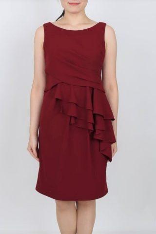 アシンメトリーフリルのワインレッドドレス