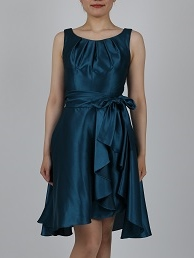 オーバースカート付シャンタン地グリーンドレス
