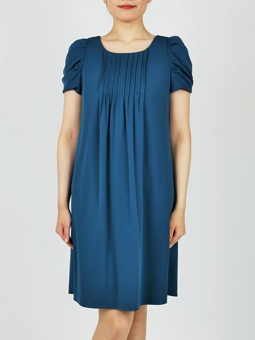 She's PREFERENCEの袖付ブルーグリーンドレス