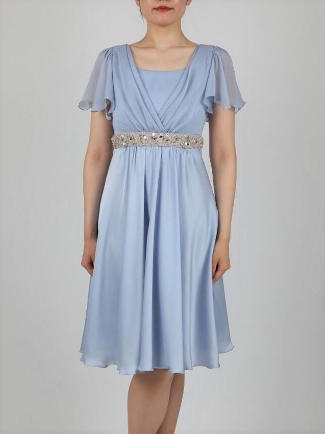 She's(シーズ)ウエストビーズ刺繍の袖付きドレス(ブルー)