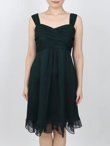 シフォンラメダークグリーンドレス