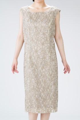 PREFERENCE PARTY'Sのゴールドベージュの上品チュールレースドレス