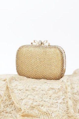 ゴールド地キラキラストーンハンドバッグ