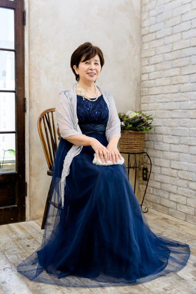 レース×チュールスカート切り替えマキシ丈ドレス(ネイビー)