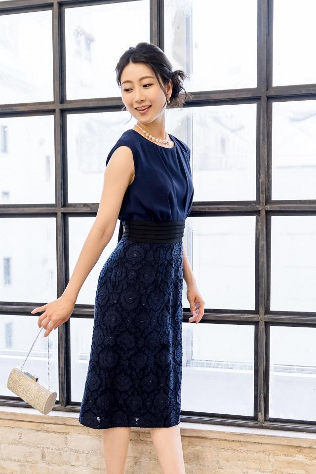 ハイウエストの異素材タイトドレス(ネイビー)