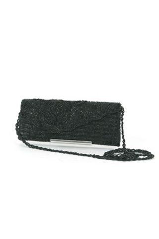 ブラックビーズの花模様のついたクラッチバッグ