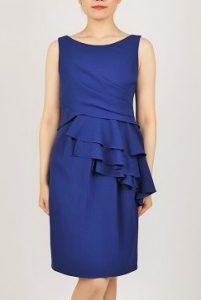 299ba97d9a3fe She`sのブライトブルー色タイトドレス(0597) タイトな形は落ち着いた雰囲気、クールに見せること ができます。腰元のフリルが上品さも表現してくれます。