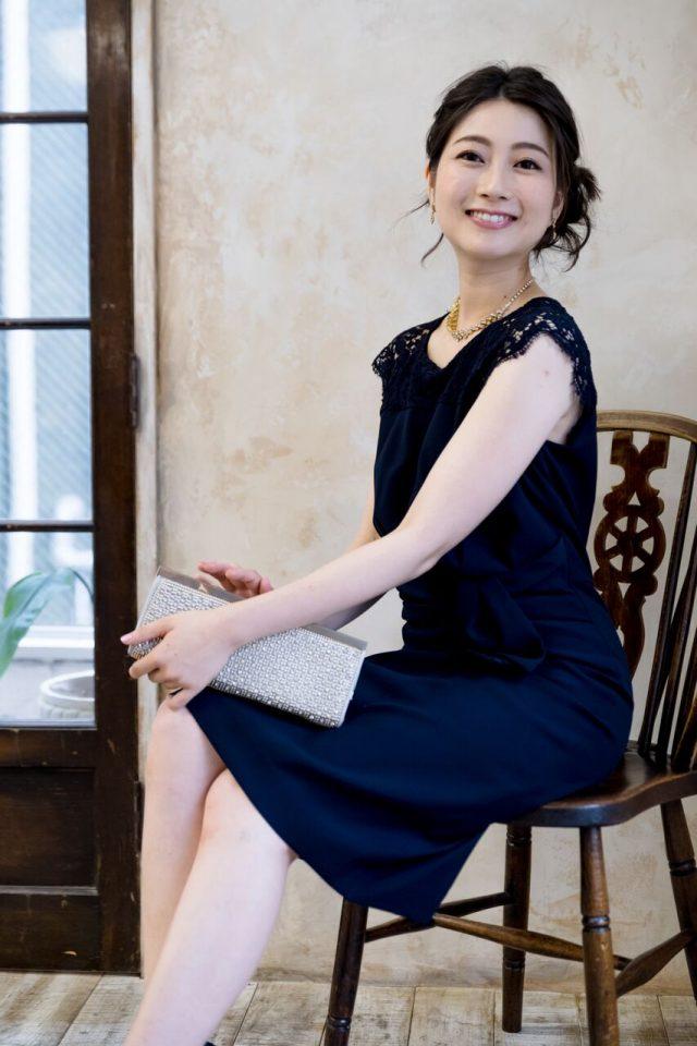 濃紺ショルダーレースドレス