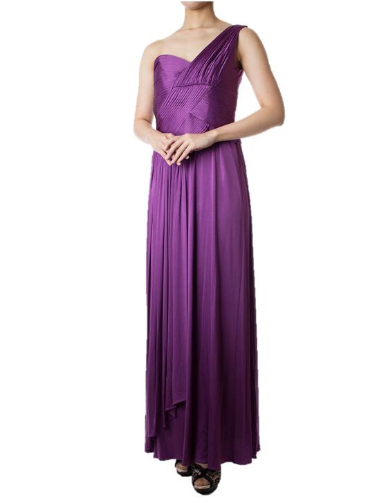 BCBGMAXAZRIAのパープルワンショルダーマキシ丈ドレス