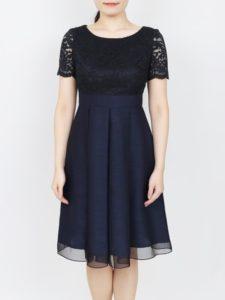 d69a2ca04d38e レース×シャンタン生地の袖付ドレス(0446) 上半身にレースをあしらったシンプル上品なワンピースドレスです。羽織物は必要なく、親族参列にも 人気のデザインです。