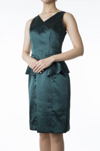 She'sダークグリーンのぺプラムドレス