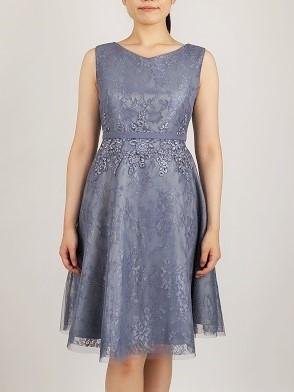 刺繍が可愛い編上げドレス(モーブ)