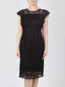 09bbd32eb2101 総レースの胸元シースルードレス(ブラック)(0991) 全身総レースのブラックドレスです。腕のフリルがフェミニンで女性らしく、春らしい軽やかな印象も 演出できます。
