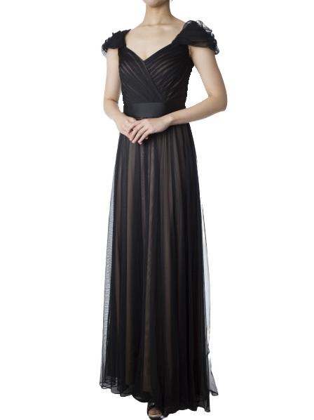 TADASHI SHOJIの袖付ブラックチュールマキシ丈ドレス