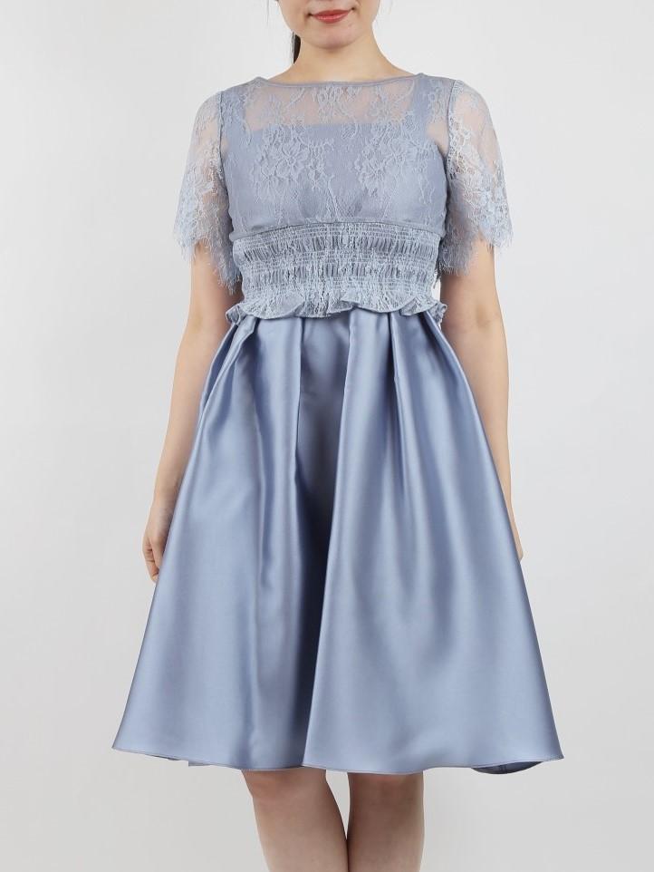 レースブラウス付き上品ドレス(ブルーグレー)