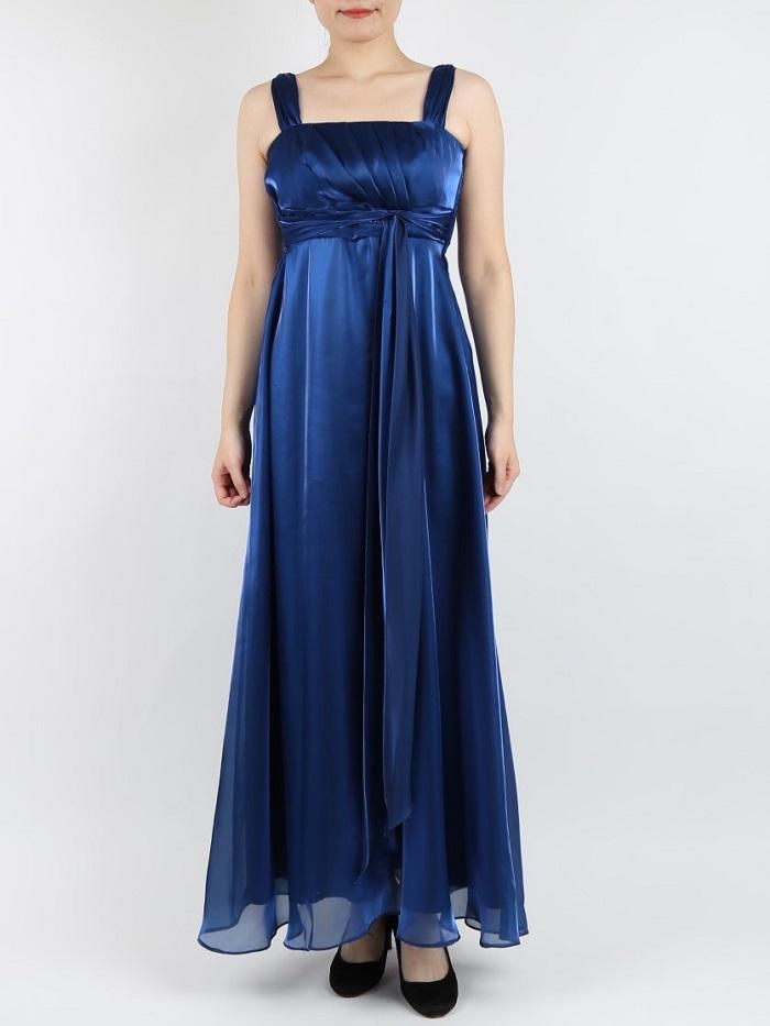 PREFERENCE PARTY'S オーガンジーサテンマキシ丈ドレス(ブルー)