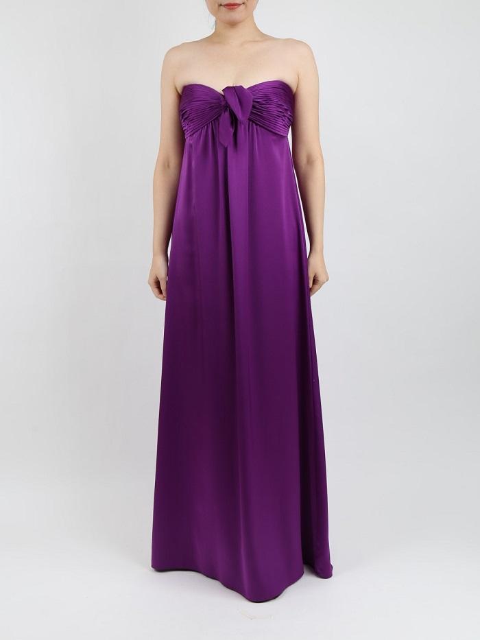 BCBGMAXAZRIAのパープル色サテンマキシ丈ドレス