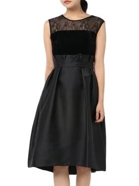 胸元レースデザインが可愛いドレス(ブラック)