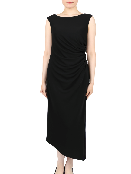 親族向けタイトラインアシンメトリードレス(ブラック)