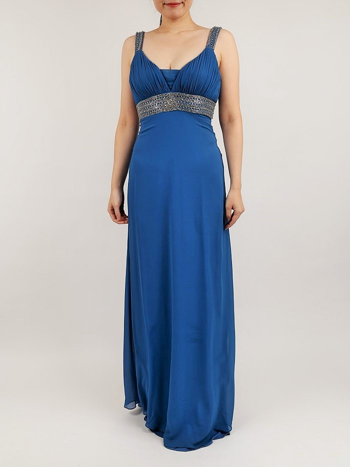 BASIX II(ベーシックス ツゥー)のブルーマキシ丈ドレス