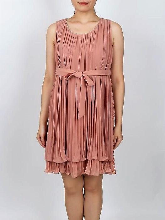 バックリボン×レースのプリーツドレス(サーモンピンク色)