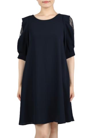 ネイビー色のレース袖付ワンピースドレス