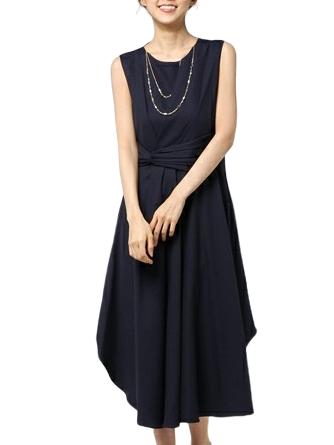 ドレープラインが上品なオトナドレス(ネイビー)