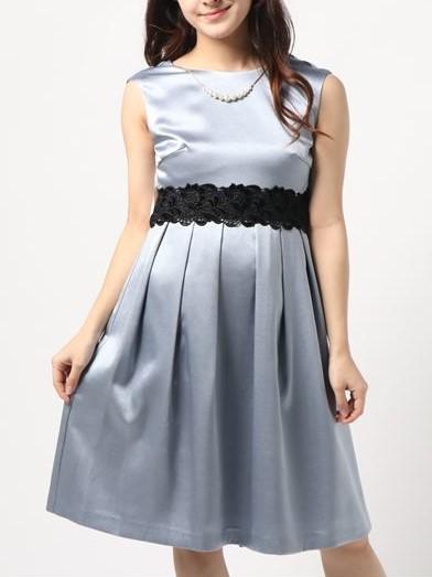 ブラックレースリボン&ネックレス付きサテン地ドレス(シルバー)