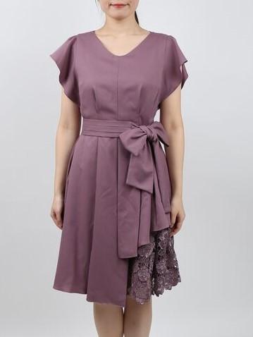 袖付き裾レースのドレス(ライトパープル)