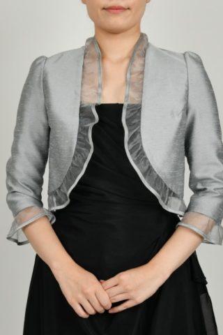 オーガンジー襟の八分丈ジャケット(シルバー)
