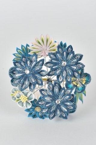 和風 ブルーのお花ヘアアクセサリー