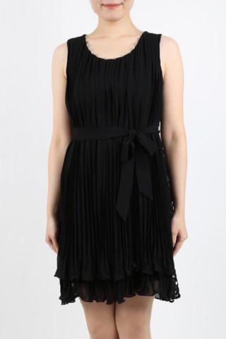 バックリボン×レースのプリーツドレス(ブラック色)