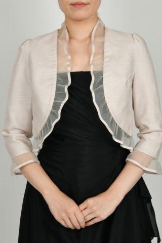 オーガンジー襟の八分丈ジャケット(ベージュ)