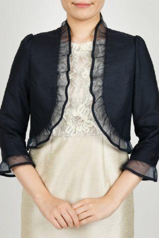 オーガンジー襟の八分丈ジャケット(ネイビー)