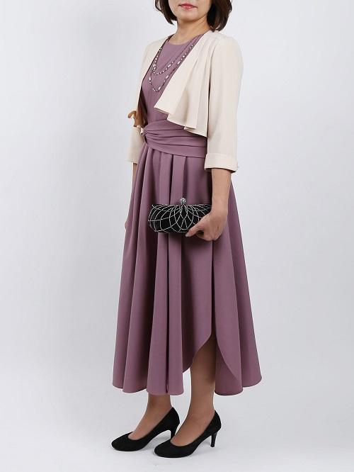ドレープラインが上品なオトナドレス(ライトパープル)