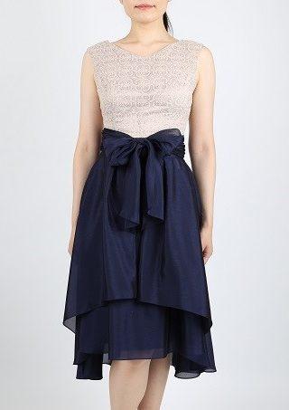 巻きスカートバイカラードレス