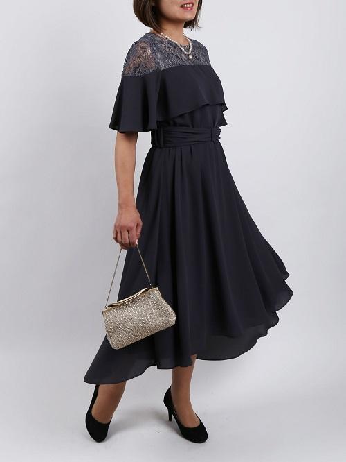 ベルト付き五分丈袖付ロングドレス(カーキ)