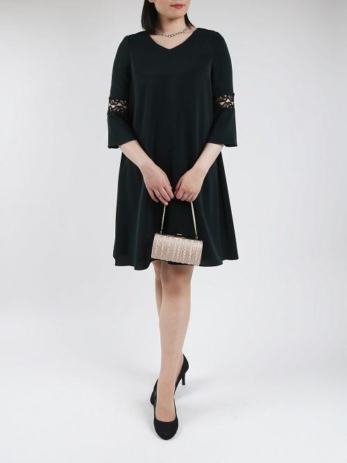 上品な袖がレースのドレス(グリーン)
